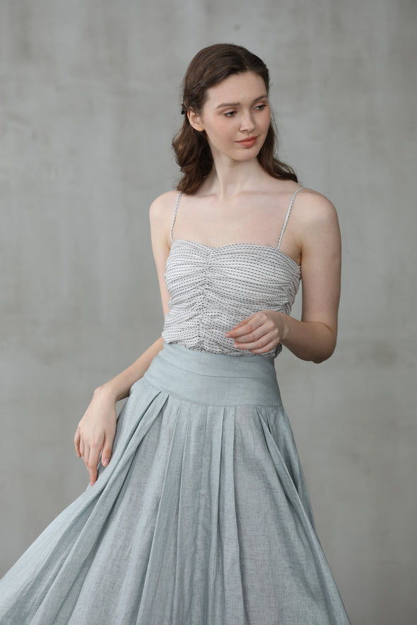 Another 13 |gray midi linen skirt