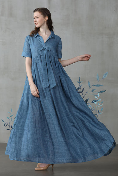 maxi shirt dress in van gogh blue | Linennaive®