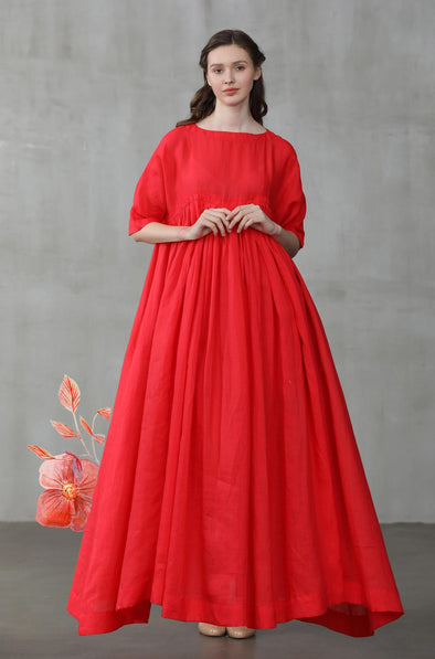 red maxi linen wedding dress | Linennaive