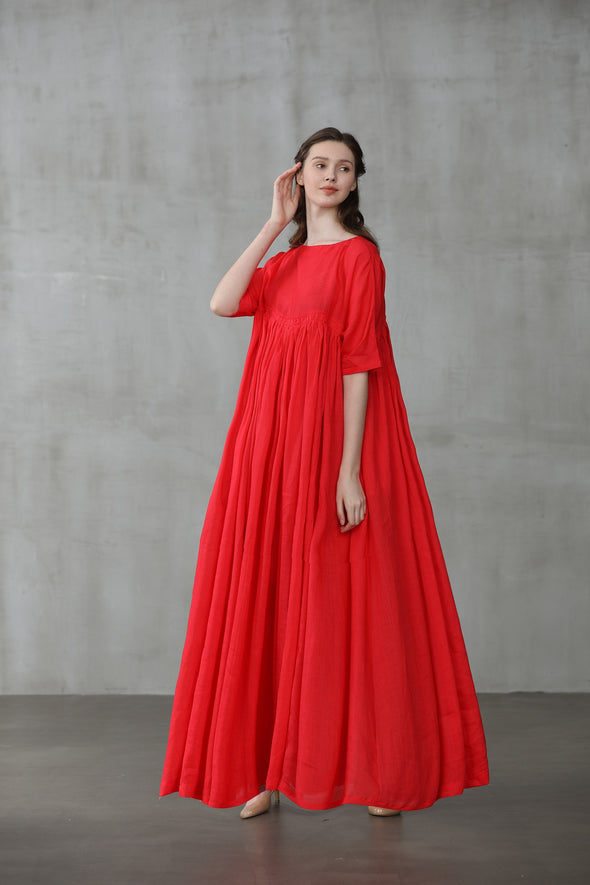 BAIE 24 | red maxi linen wedding dress
