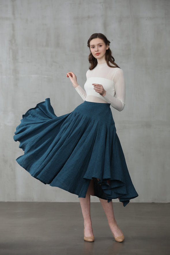 Opera 25 | peacock blue linen skirt