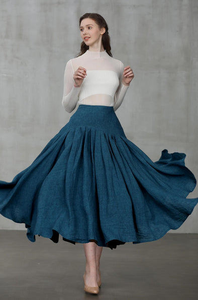 heavy linen skirt, peacock blue skirt | Linennaive