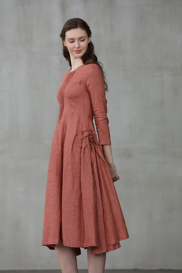 linen midi dress | Linennaive®