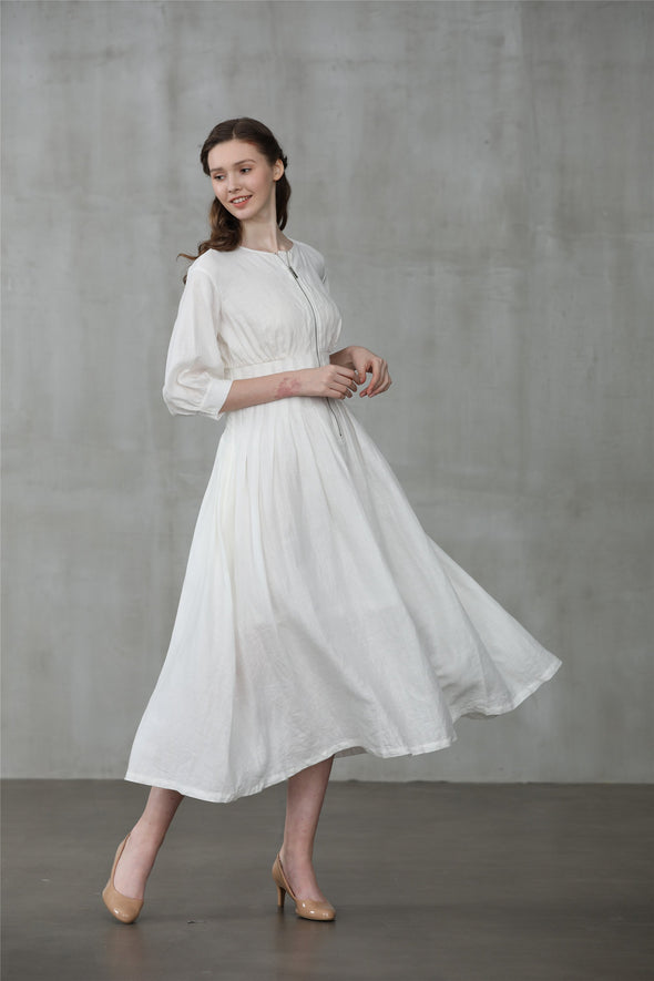 linen dress, white linen dress, coat dress | Linennaive®