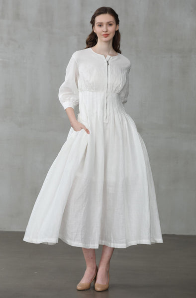 linen dress, white linen dress, coat dress | Linennaive