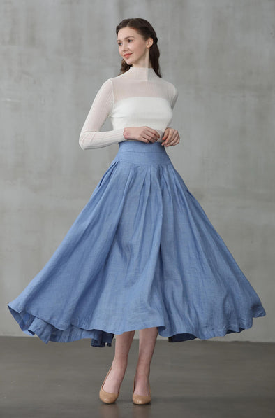 Another 13 | blue linen skirt