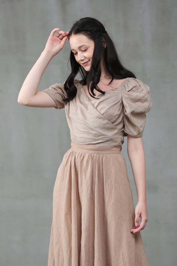 Poppy 23 | Nude linen skirt
