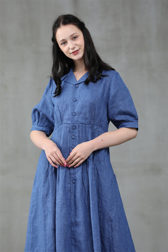 Blue Lotus 27 | linen shirt dress