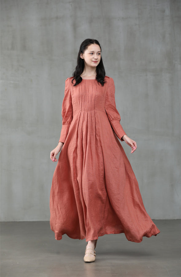 Maltose 14 | burnt orange linen dress
