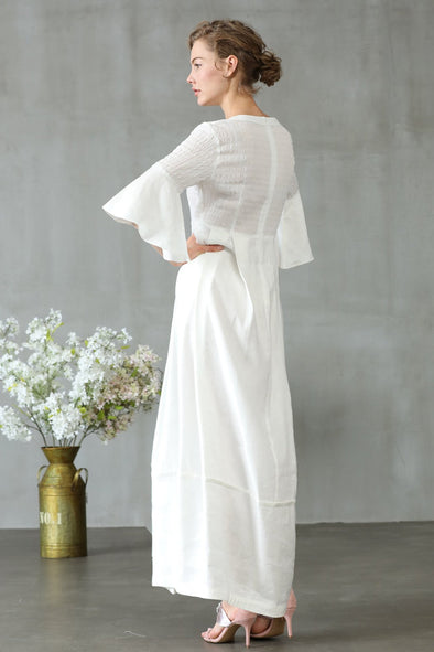 white wedding dress empire linen dress | Linennaive®