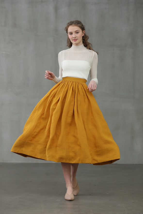 Daisy 03 | mustard yellow linen skirt