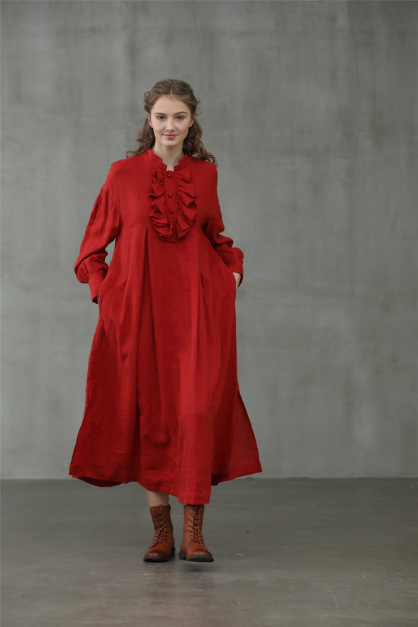 Dahlia 30 | red linen dress ruffle dress