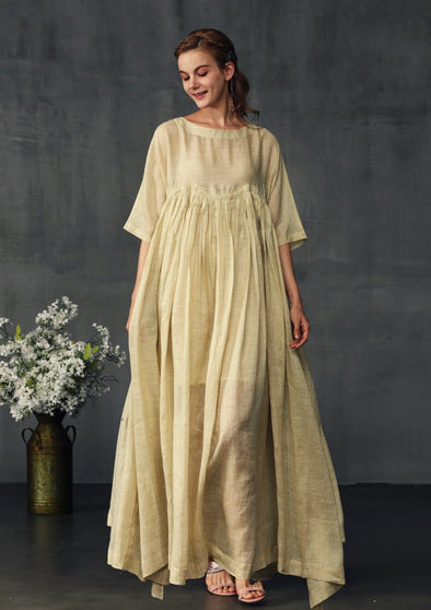 buttermilk maxi linen dress | Linennaive®