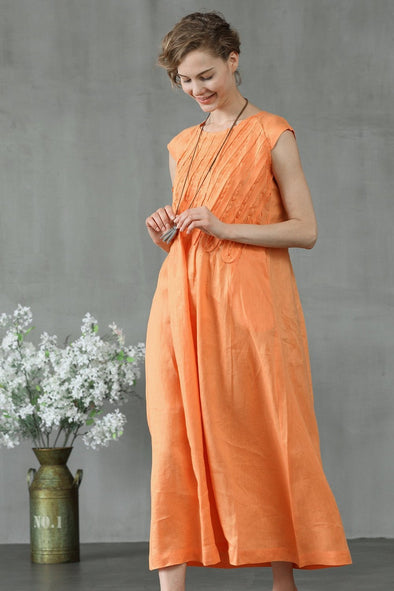 orange ruffle linen dress | Linennaive®