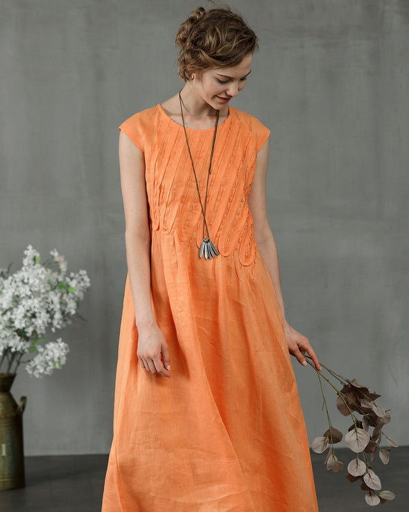 Mandarin Orange 44 | ruffle linen dress