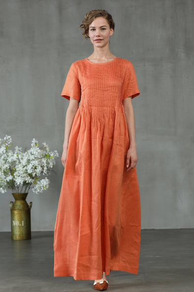 linen dress in orange, pintuck dress | Linennaive®