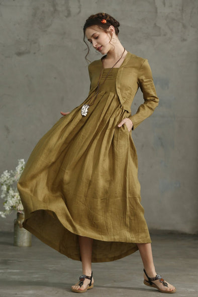 layered linen dress golden empire dress | Linennaive®