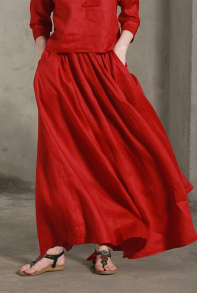 Cosmo 41 | red linen skirt