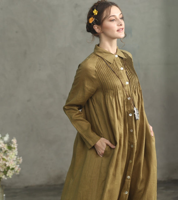 golden buttoned down linen dress shirt dress | Linennaive®