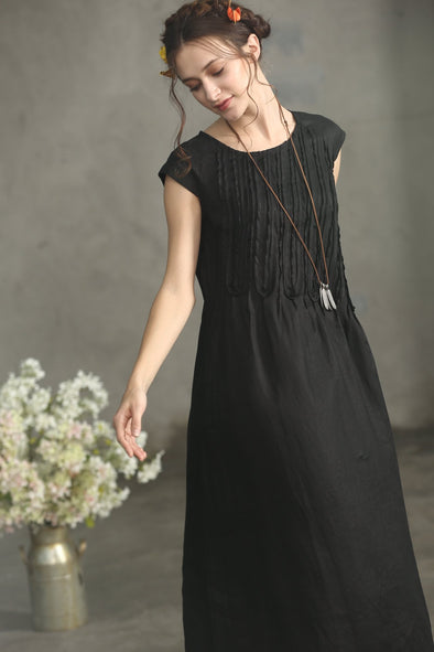 black linen dress with ruffles | Linennaive®