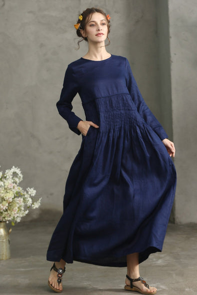 navy pleated linen dress maxi gown | Linennaive®