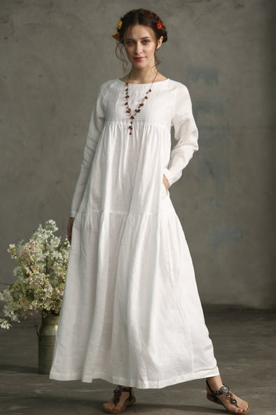 White Dress Maxi Linen Dress | Linennaive®