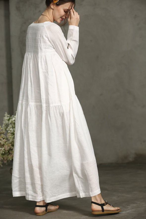 Daffodils 16 | White Dress Maxi Linen Dres