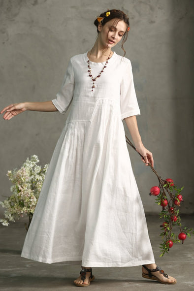 white linen dress maxi gown | Linennaive®