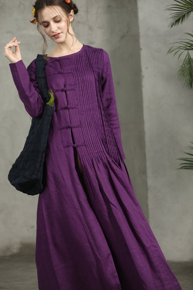 Purple Sangria Maxi Dress Linen Dress | Linennaive®
