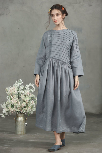 gray linen kaftan dress | Linennaive®
