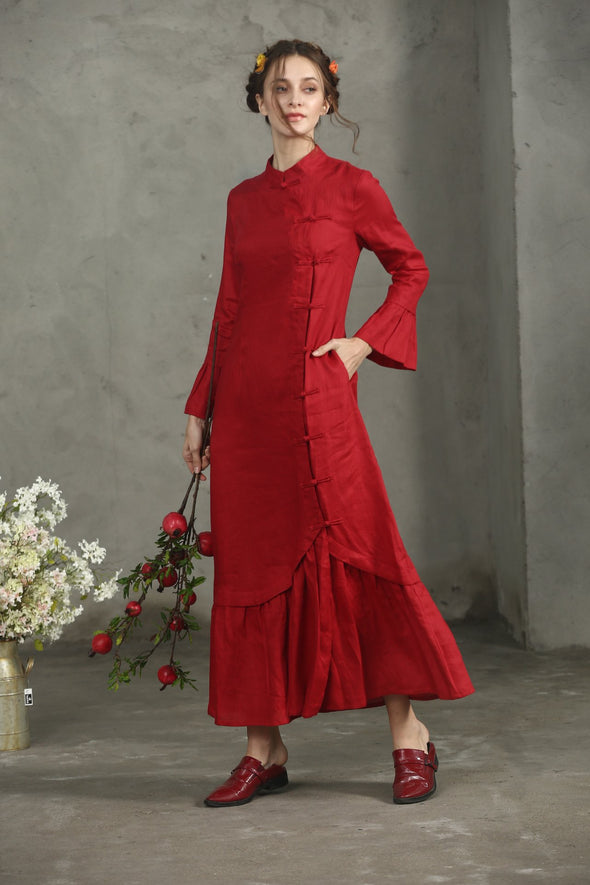 Saffron 53 | red linen dress princess dress
