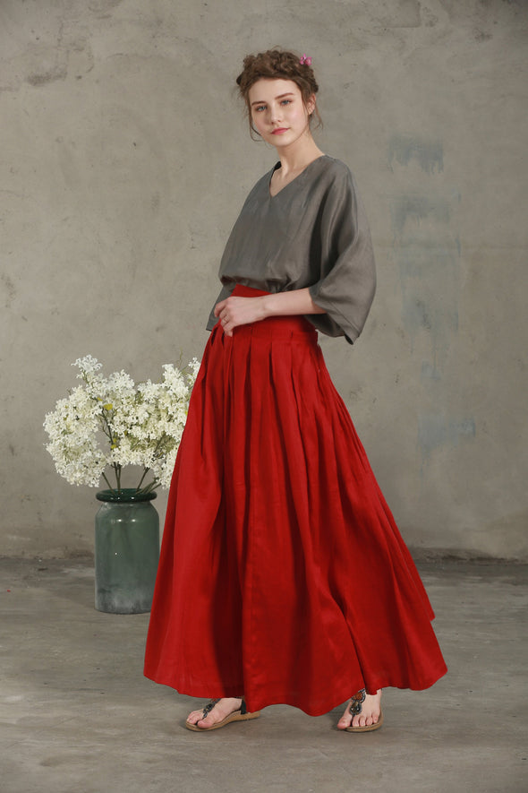 OUD 66 | red maxi linen skirt