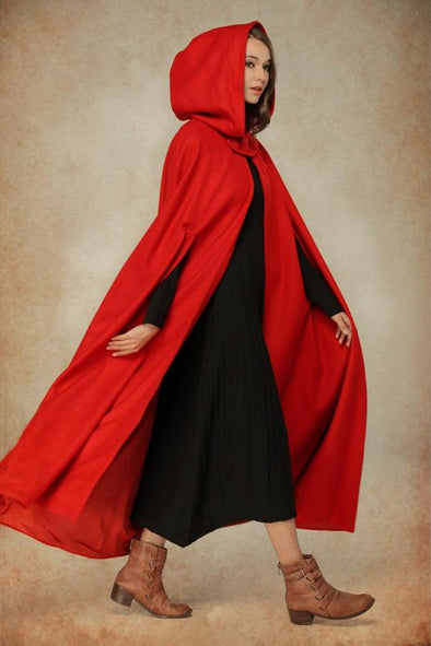 Red Wool Cape 100% Cashmere