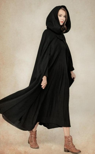 Black Hooded Cape Cloak Maxi Poncho