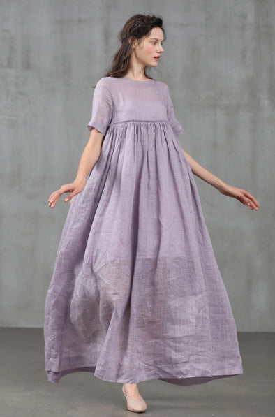 empired linen dress, soft lilac dress | Linennaive®