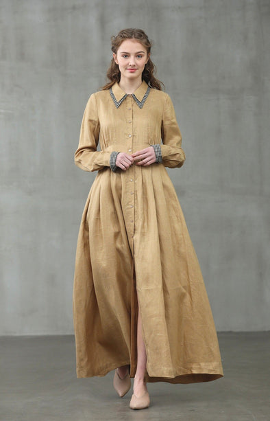 Maple leaves 11 | Golden shirt dress
