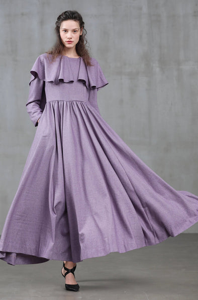 hooded wool dress coat in lilac | Linennaive