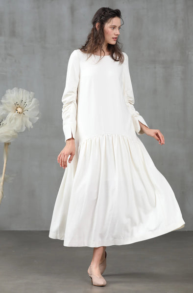 white wool dress, white wool dress | Linennaive®
