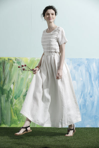 white maxi dress layered linen dress | Linennaive®