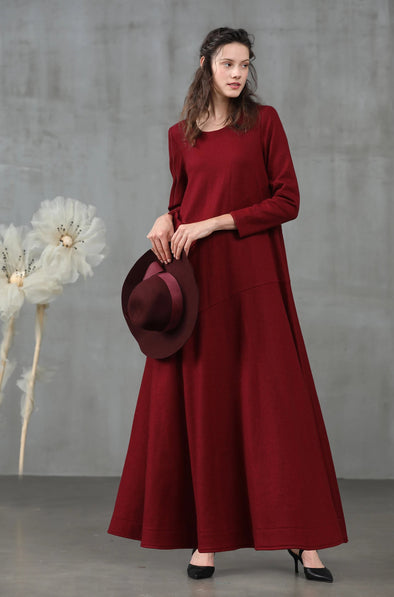 burgundy wool dress | Linennaive