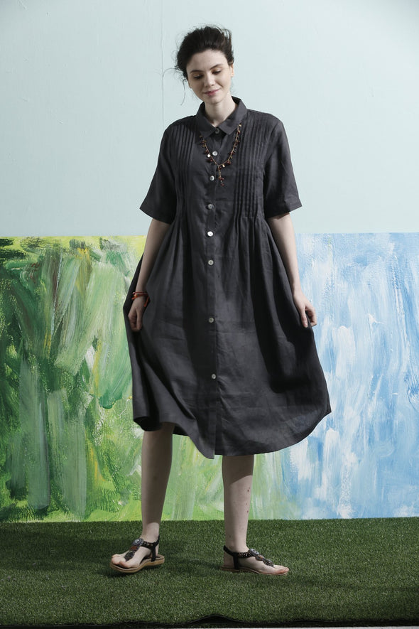 botton down linen shirt dress | Linennaive®