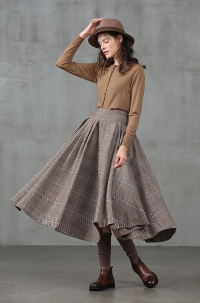 check wool skirt, winter skirt | Linennaive