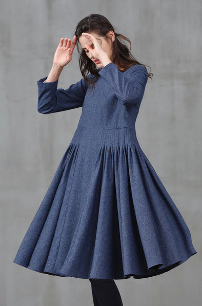 blue ruffle dress | Linennaive