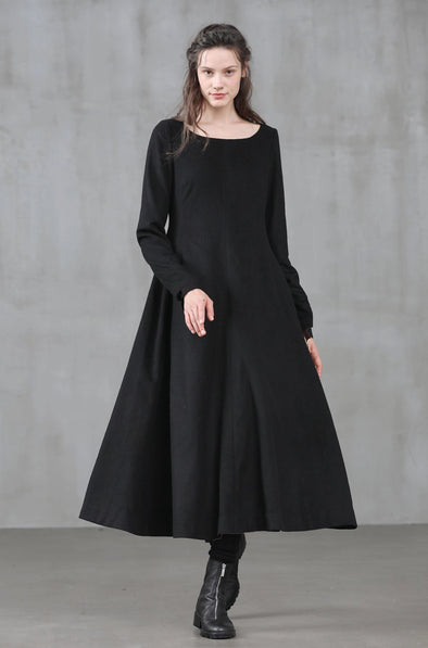 100% wool black dress little black dress | Linennaive