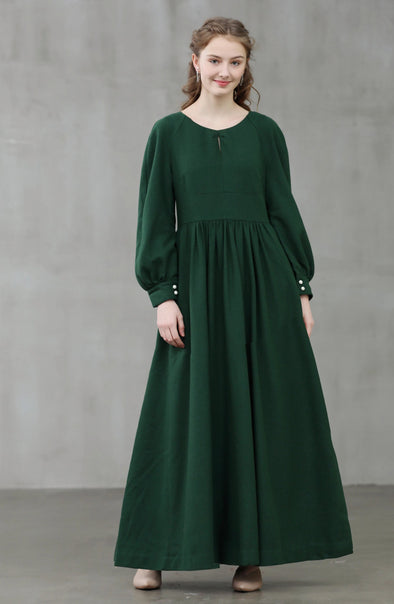 Seeded 11 | puff sleeve emerald wool dress