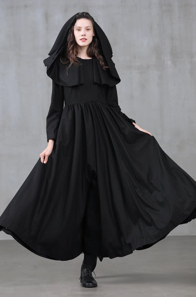 Ash 31 | wool dress coat hooded black coat