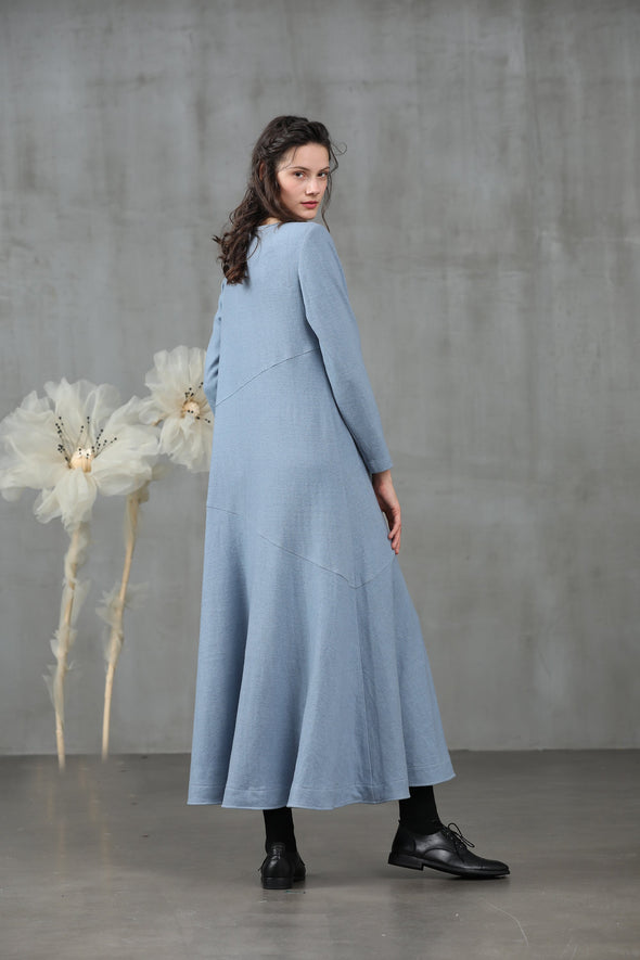 Agarwood 25 | Smoky blue wool dress