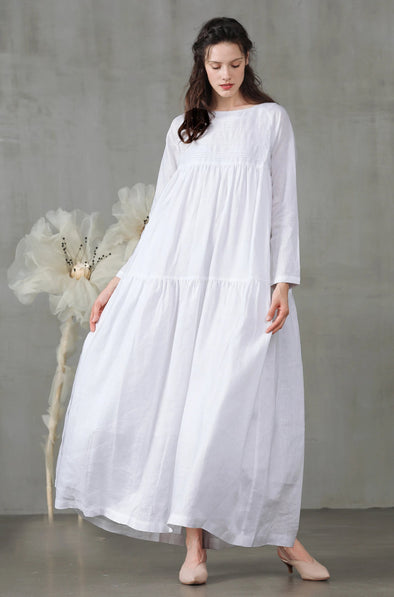 white longsleeve linen dress | Linennaive