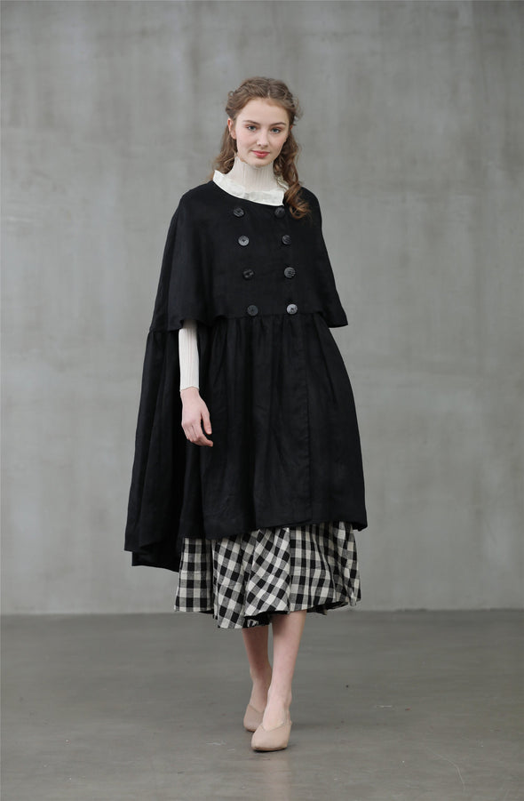 EMMA 18 | black linen cape