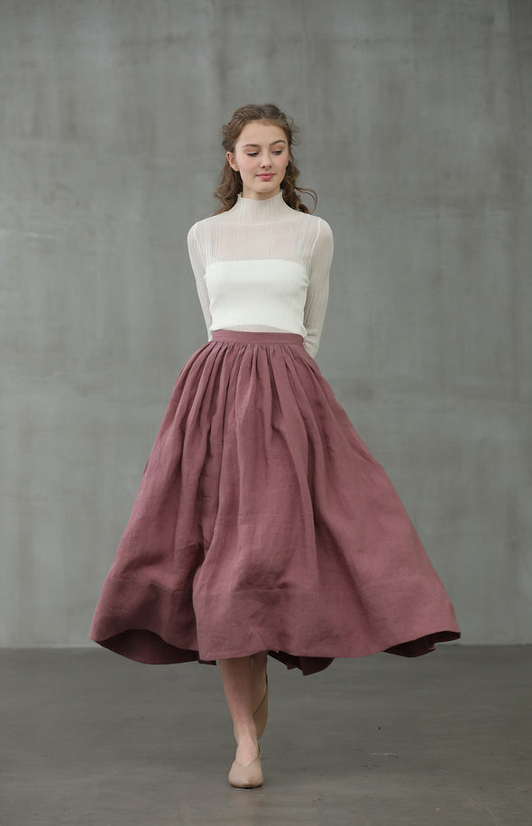 Daisy 03 | ashed lilac linen skirt